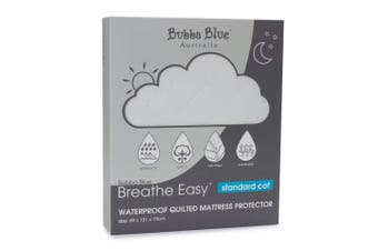 Bubba Blue Breathe Easy 131cm Waterproof Quilted Mattress Protector Standard Cot