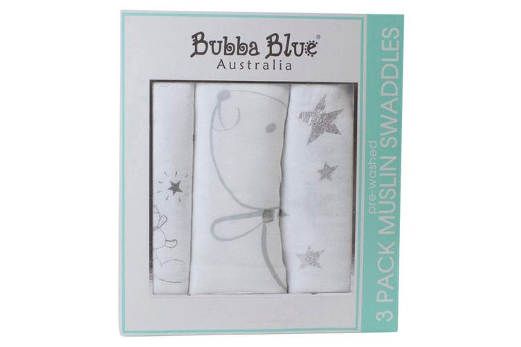 6pc Bubba Blue Wish Upon A Star 120cm Cotton Muslin Wrap/Swaddles Baby White
