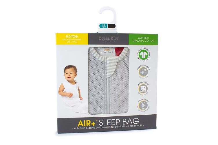Bubba Blue Air+ Baby/Toddler Organic Cotton Sleep Bag 0.5 TOG Size 12-24m Grey