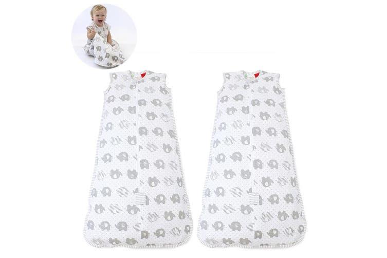 2x Bubba Blue Air+ Baby/Toddler Organic Cotton Sleep Bag 0.5 TOG 12-24m Elephant