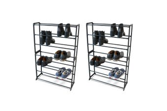 2x Boxsweden 7 Tier 95x61.5cm Shoe Rack/Storage Stand Shoes Organiser/Cabinet BK