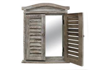 Lorette Shutter Window Frame Wall Mount Mirror 42x52cm Hanging Home Decor Brown