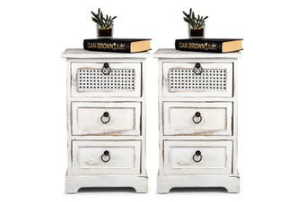 2x French Chic 35x30cm 3 Drawer Wood Timber Side Table Home Decor Furniture