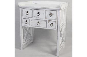 French Cross Hatch Table w/ Drawers 60x40cm Home Wooden Furniture Storage White