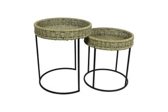 2pc Nested 51cm/43cm Seagrass Side Tables Home Room Furniture Decor Natural/BLK