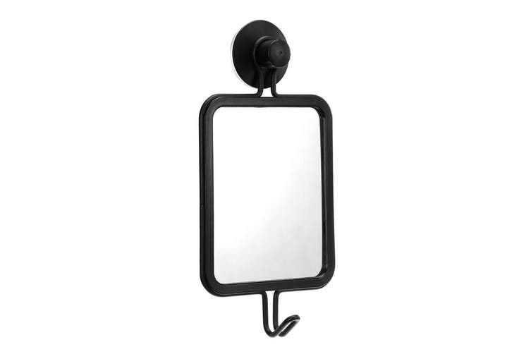 Box Sweden 25 x 12.5cm Suction Wall Hanging Mirror w/ Hook Home Decoration Black