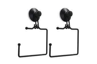 2x BoxSweden Wall Mount Bathroom Wire Suction Cup Toilet Paper Roll Holder Black