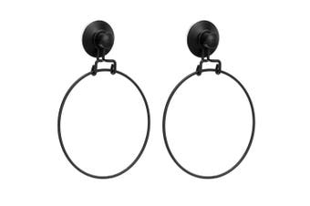 2x BoxSweden Wall Mount Bathroom Wire Suction Cup Towel Ring Holder/Rack Black