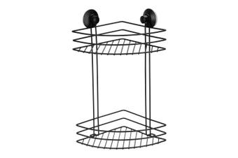 BoxSweden 2 Tier Bathroom Wall Suction Rack Shower Caddy Shelf Organiser Holder