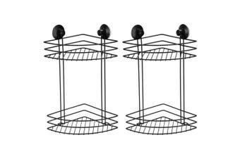 2PK BoxSweden 2 Tier Bathroom/Shower Wall Suction Rack Caddy Shelf Holder