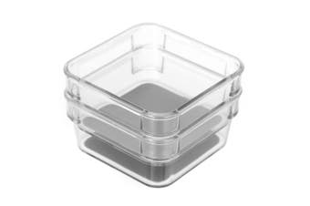 2PK Box Sweden Crystal Non-Slip Storage Tray Home/Kitchen Container Box Clear