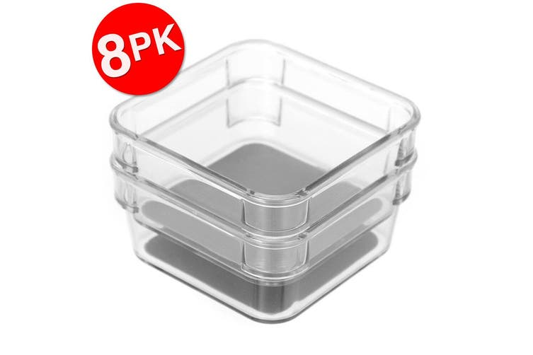 8x 2PK Box Sweden Crystal Non-Slip Storage Tray Home/Kitchen Container Box Clear