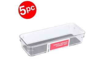 5x BoxSweden 23x9cm Crystal Plastic Non Slip Storage Tray Home Kitchen Organiser