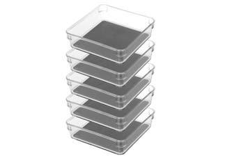 5x BoxSweden Crystal Non Slip Storage Tray 16cm Small Fridge/Pantry Container
