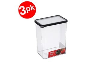 3x Lemon & Lime 2.66L Rectangle Crisp Food Storage Container Dishwasher Safe BLK