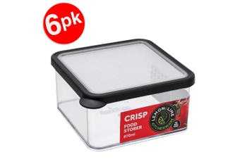 6x Lemon & Lime 870ml Square Crisp Food Storage Container Dishwasher Safe Black