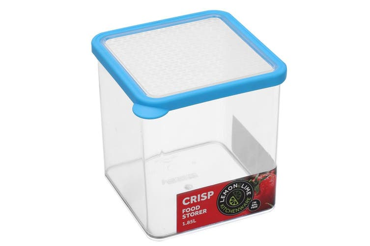 4x Lemon & Lime 1.85L Square Crisp Food Storage Container Dishwasher Safe Blue