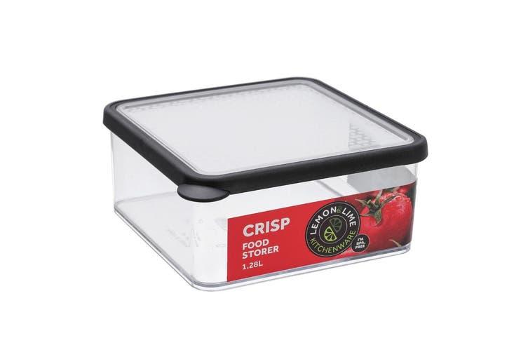 3x Lemon & Lime 1.28L Square Crisp Food Storage Container Dishwasher Safe Black