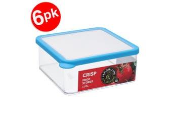 6x Lemon & Lime 1.28L Square Crisp Food Storage Container Dishwasher Safe Blue