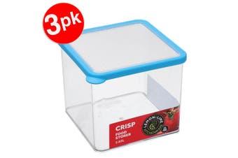 3x Lemon & Lime 2.65L Square Crisp Food Storage Container Dishwasher Safe Blue