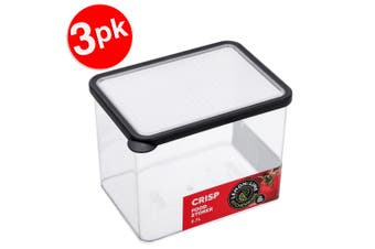 3x Lemon & Lime 2.7L Rectangle Crisp Food Storage Container Dishwasher Safe BLK
