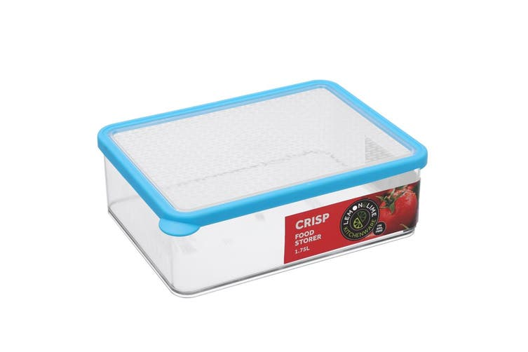 2x Lemon & Lime 1.75L Rectangle Crisp Food Storage Container Dishwasher Safe BLU