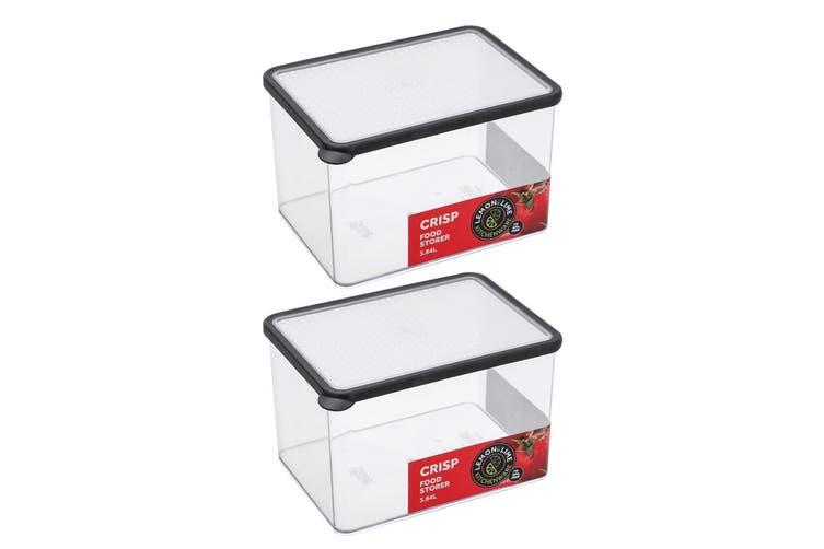 2x Lemon & Lime 3.84L Rectangle Crisp Food Storage Container Dishwasher Safe BLK