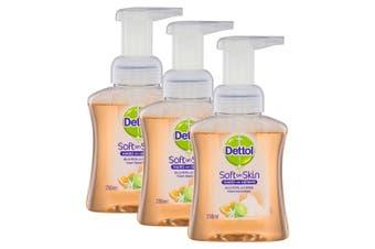 3x Dettol 250ml Liquid Soft on Skin Care Foam Hand Wash Pump Lime/Orange Blossom