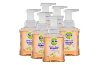 6x Dettol 250ml Liquid Soft on Skin Care Foam Hand Wash Pump Lime/Orange Blossom