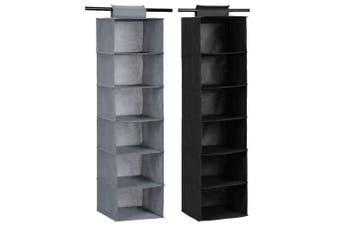 2x Box Sweden Mode 115cm 6 Tier Hanging Wardrobe Storage Clothes Organiser Asst.