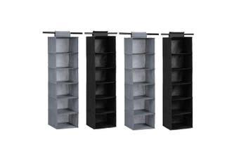 4x Box Sweden Mode 115cm 6 Tier Hanging Wardrobe Storage Clothes Organiser Asst.