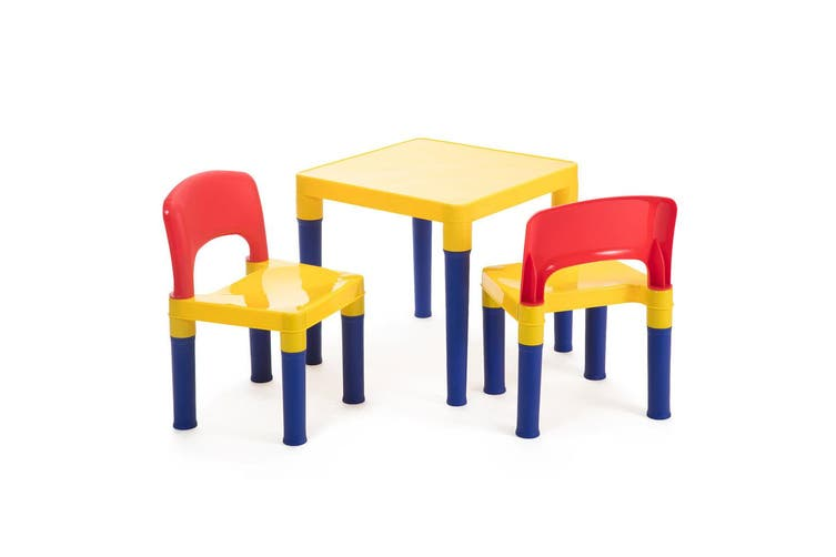 Coloured Kids/Children Play Table & 2 Chairs Plastic Furniture Set 3-8y