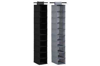 2x Box Sweden Mode 130cm 10 Compartment Shelf Hanging Storage Organiser Assorted