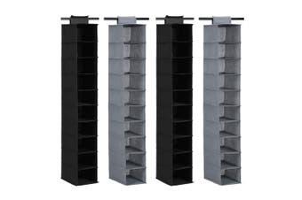 4x Box Sweden Mode 130cm 10 Compartment Shelf Hanging Storage Organiser Assorted