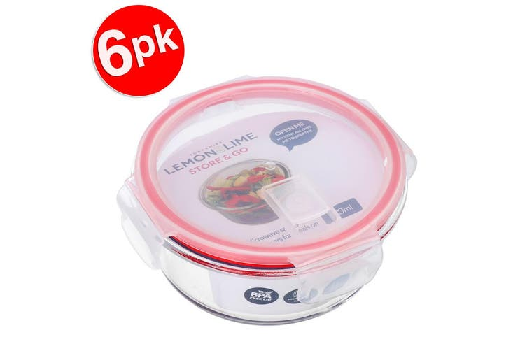 6x Lemon & Lime Yorkshire Store/Go 620ml Round Glass Food Storage Container