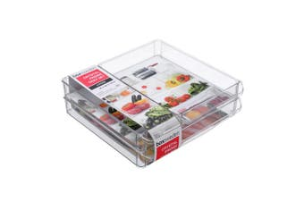 3PK Box Sweden 30x30cm Crystal Fridge/Pantry Kitchen Food BPA Free Tray Clear