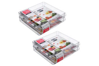 2x 3PK Box Sweden 30x30cm Crystal Fridge/Pantry Kitchen Food BPA Free Tray Clear