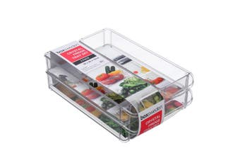 3PK Box Sweden 30x20cm Crystal Fridge/Pantry Kitchen Food BPA Free Tray Clear