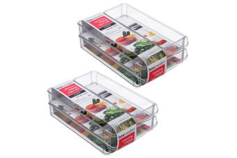 2x 3PK Box Sweden 30x20cm Crystal Fridge/Pantry Kitchen Food BPA Free Tray Clear