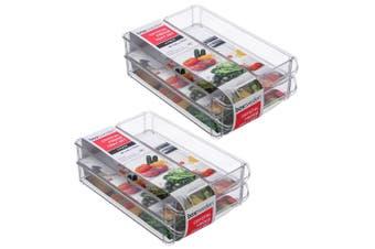 2x 3PK Box Sweden 30x20cm Crystal Fridge/Pantry Kitchen Food BPA Free Tray Clear