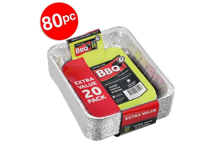 80pc Lemon & Lime 31.5cm Disposable Aluminium Foil BBQ/Oven Roasting/Baking Tray