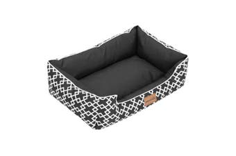 Paws & Claws 70cm Fremantle Walled Oxford Pet Dog Bed Cushion Mat Black/White