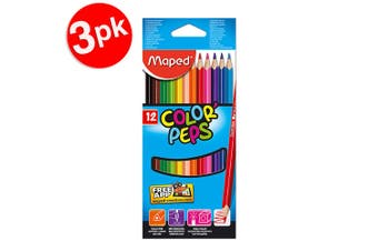 3x 12pc Maped Color Peps Kids Triangular Art Drawing/Colouring/Colour Pencils