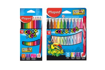 12pc Maped Color Peps Kids Colour Pencils & 12pc Jungle Washable Markers Combo