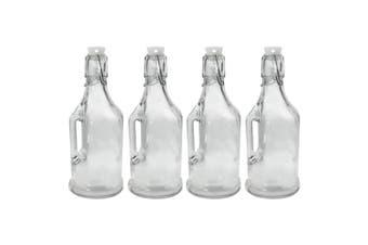 4PK Lemon & Lime 350ml Jar/Jug Drink Container w/ Clip Lock Lid Glass Bottle CLR