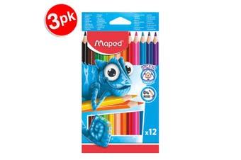 3x 12pc Maped Pulse Jumbo Kids 0% Wood Triangular Drawing Colouring Pencils