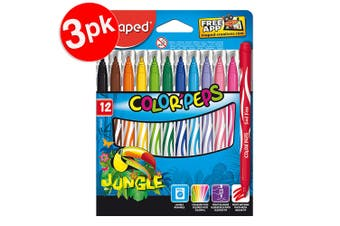 3x 12PK Maped Color Peps Jungle Kids Washable Drawing/Colouring Markers 3y+