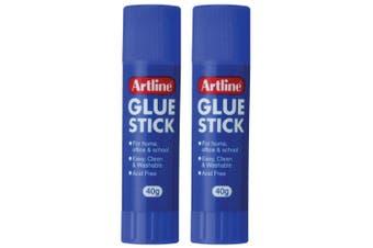 2PK Artline 40g Glue Stick Adhesive School/Office Washable Acid Free Paste Clear