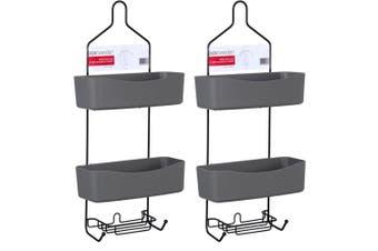 2x Box Sweden 60cm Wire Deluxe 2 Tier Shower Caddy w/ Detachable Holder/Tray BLK
