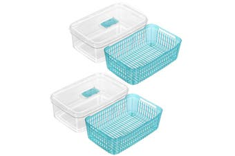 2x Box Sweden Crystal 4.7L Plastic Vegetable Storer Fridge Container Assorted